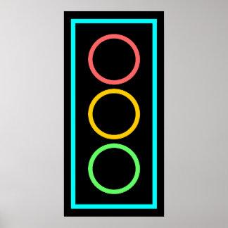 Neon Stoplight Poster