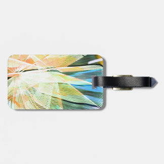 neon streaks yellow blue midway carnival abstract tags for luggage