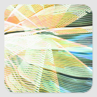 neon streaks yellow blue midway carnival abstract square stickers