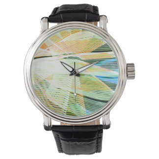 neon streaks yellow blue midway carnival abstract wrist watch