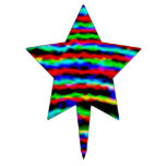 Neon Streamers Star Cake Toppers