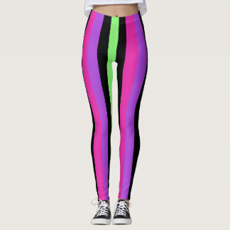 Neon Green And Black Striped Leggings & Tights | Zazzle
