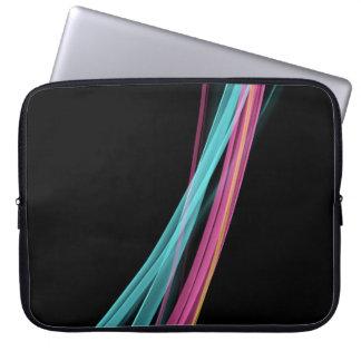 Neon stripes abstract art on black laptop computer sleeve