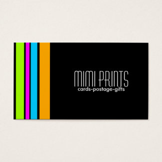 Neon Stripes on Black Business Card