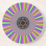 Neon Stripes Sunburst Fractal Drink Coaster