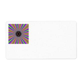 Neon Stripes Sunburst Fractal Label
