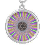 Neon Stripes Sunburst Fractal Necklaces