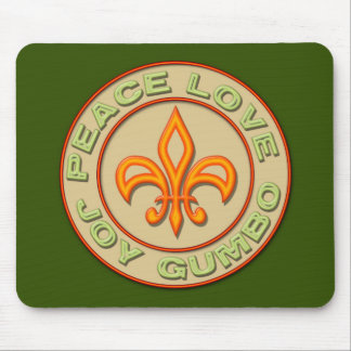 Neon Style Peace Love Joy Gumbo (green) Mouse Pad