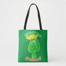 Neon Succulent Party Time Cactus Logo Tote Bag