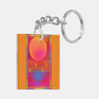 Neon Summer Hazey Sun Square Double-Sided Keychain