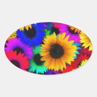 Neon Sunflowers Oval Sticker