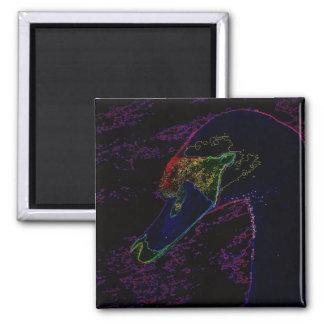 Neon Swan Portrait Magnet