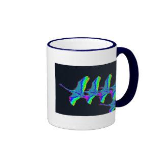 Neon Swans Fly The Night Sky Coffee Mug