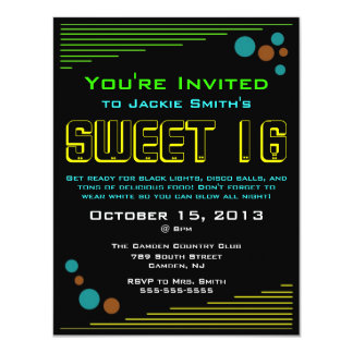 Neon Sweet 16 Invitations