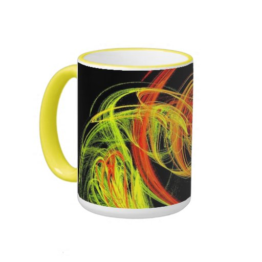 Neon Swirls Ringer Coffee Mug