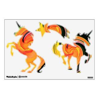 Neon Swirls Unicorns Wall Decal