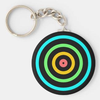 Neon Target Basic Round Button Keychain