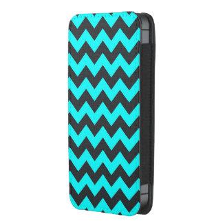Neon teal black chevron pattern iphone pouch