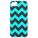 Neon teal blue black chevron pattern iPhone 5 case