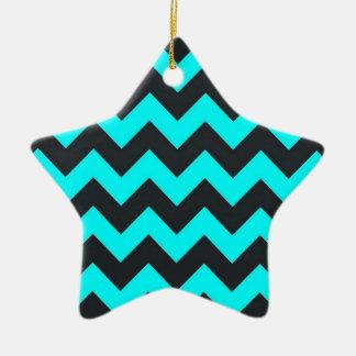 Neon teal blue black chevron pattern christmas tree ornaments