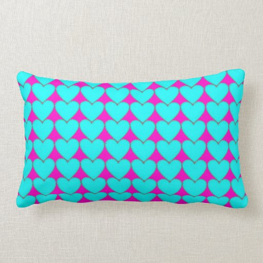 Neon teal pink hearts decorative pillow Zazzle