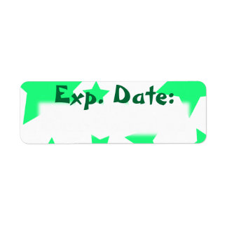 Neon Teal Stars Expiration Date Labels