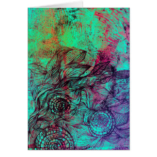 Neon Tendrils Abstract Card