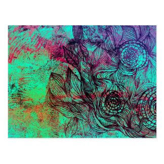 Neon Tendrils Abstract Postcard