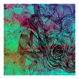 Neon Tendrils Abstract Poster