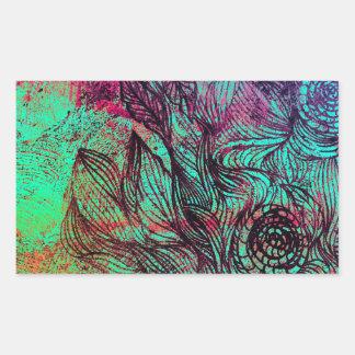 Neon Tendrils Abstract Rectangular Sticker