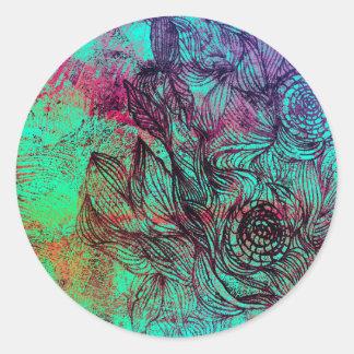 Neon Tendrils Abstract Round Sticker