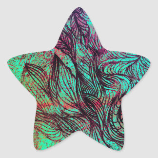 Neon Tendrils Abstract Star Sticker