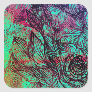 Neon Tendrils Abstract Sticker