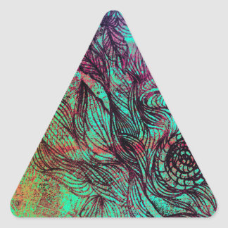 Neon Tendrils Abstract Triangle Stickers