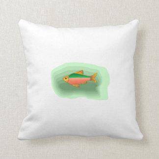 Neon Tetra Fish Throw Pillows