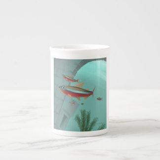 Neón tetra taza de porcelana
