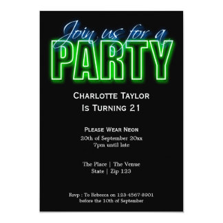 Neon Themed Party Card