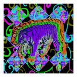 Neon Tiger on Vivid Background Posters