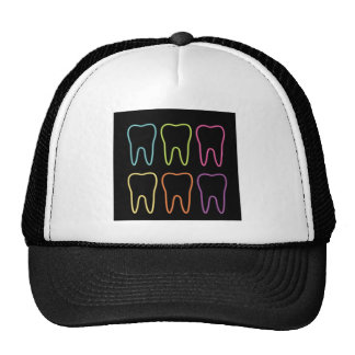 Neon tooth graphic for dentist trucker hat