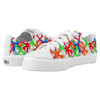 neon toy jacks on white printed shoes