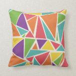 Neon Triangles Design Throw Pillow