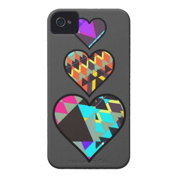 Aztec Themed Neon Tribal Hearts Grey iPhone 4/4S case