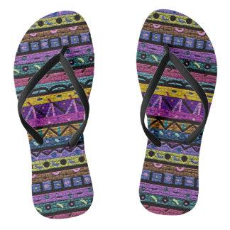 Neon Tribal Pattern Flip Flops
