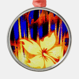 Neon Tropical Floral Bright & Colorful Metal Ornament
