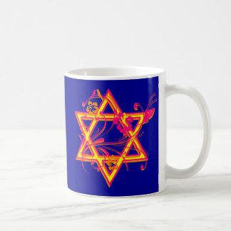 Neon Tropical Hibiscus Star of David Coffee Mug