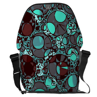 Neon Turquoise Burgundy Abstract Pattern Messenger Bag