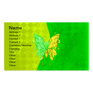 Neon Two Tone Butterfly in yellow and green Double-Sided Standard Business Cards (Pack Of 100)