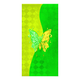 Neon Two Tone Butterfly in yellow and green Photo Card Template