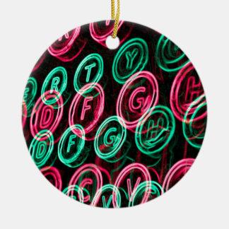Neon typewriter keys close up ceramic ornament