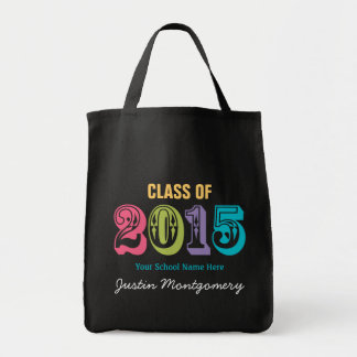 Neon Typography Class of 2015 Grocery Tote Bag